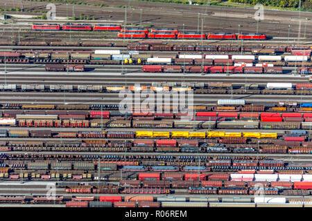 Aerial view, Hagen-Vorhalle marshalling yard, train wagons, freight trains, Hagen, Ruhr area, North Rhine-Westphalia, Germany, Europe, DEU, birds-eyes - Stock Photo