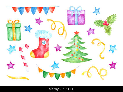 Set of Various Colorful Christmas Decorations. Watercolor Hand Drawn and Painted. Isolated on White Background - Stock Photo