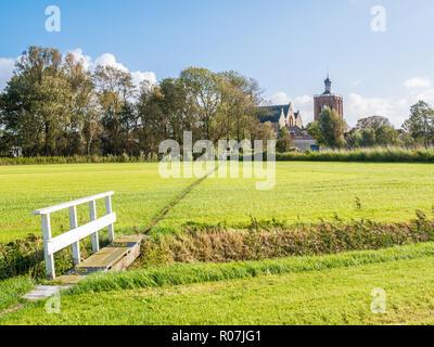 Polder landscape with pasture, and Great Saint Gertrudis Church of Workum, Friesland, Netherlands - Stock Photo