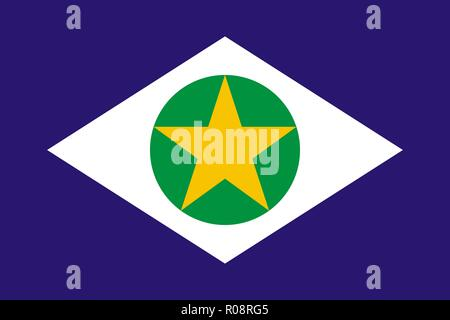 Simple flag state of Brazil. Mato Grosso - Stock Photo
