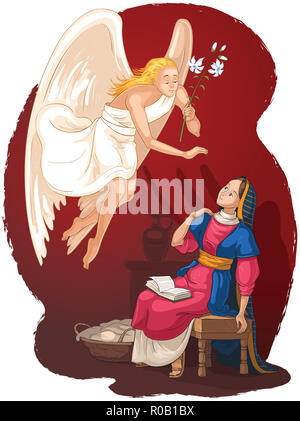Annunciation. Angel Gabriel announcement to Mary of the incarnation of Jesus. Cartoon christian illustration - Stock Photo