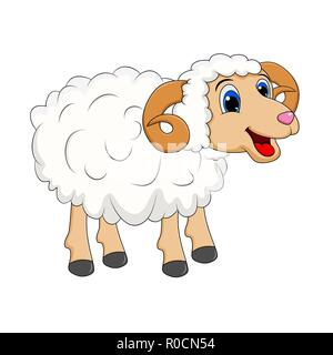 cartoon white ram design isolated on white background - Stock Photo