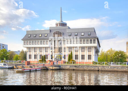 KALININGRAD, RUSSIA - April 28.2018: Administration of the seaport of the city of Kaliningrad on the territory of the Museum of the World Ocean - Stock Photo