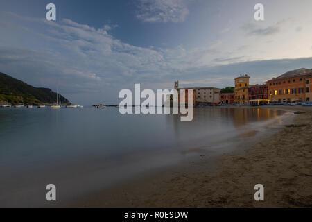 a beautfiul view of the 'Bay of Silence', Baia del Slienzio, Sestri Levante, (Ge), Liguria, Italy, at dusk - Stock Photo