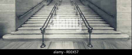 View of Union Station stairs, Chicago, USA. - Stock Photo