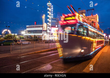Blackpool UK, 4th November 2018. Weather news. A mild and somewhat dull evening in Blackpool tonight as the lights are turned on for the last time of the 2018 season. ©Gary Telford/Alamy live news - Stock Photo