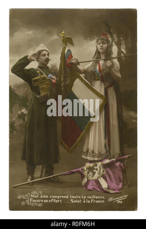 French historical photo postcard: Russian Cossack with a flag salutes the young woman Marianne symbol of France trampling the banner of Germany. wwi - Stock Photo