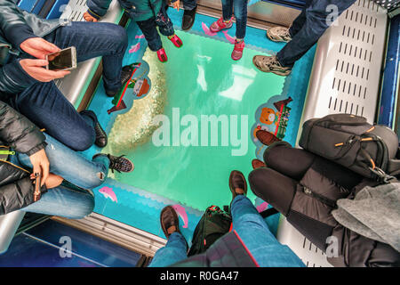 Hong Kong - January 26, 2016: Ocean shore viewed through glass floor of Crystal Cabin full of people, Ngong Ping 360 Skyrail on Lantau Island, Hong Ko - Stock Photo