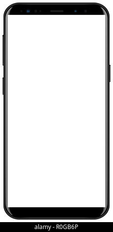 Brand new smartphone black color with white screen mockup. Front view of modern android multimedia smart phone easy to edit and put your image. - Stock Photo