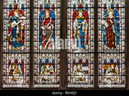 Herefordshire, UK. Victorian memorial stained glass window in Hereford Cathedral - Stock Photo