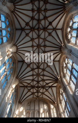 Interior of nave roof in the Church of St Mary the Virgin, Steeple Ashton, Wiltshire, UK. - Stock Photo