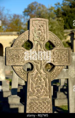 Celtic Cross gravestone in Brompton Cemetery (Kensington and Chelsea) London, England, UK. - Stock Photo