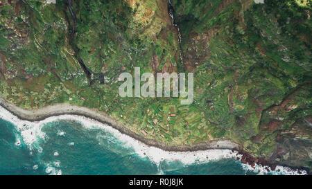 Top view of waterfall of 'Rocha do Navio' at Santana, Madeira island. - Stock Photo