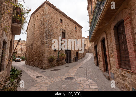 Pals a medieval town with stone houses in Girona Province, Catalonia, Spain - Stock Photo