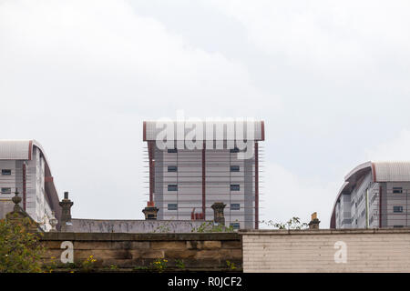 The new Northumbria University Student Accommodation blocks of Trinity Square towering above older Victorian buildings in Gateshead, Tyne and Wear, UK - Stock Photo