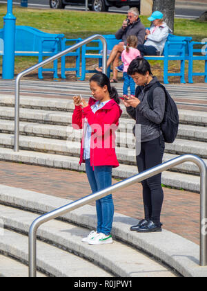 Asian couple standing on steps using their mobile trephines at Coogee beach Sydney NSW Australia. - Stock Photo