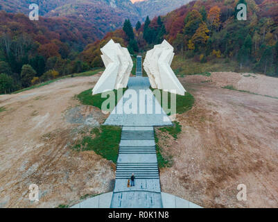 Tjentiste World War II monument,Sutjeska National Park, Bosnia and Herzegovina . - Stock Photo