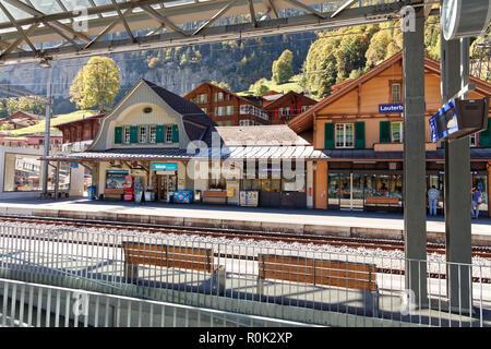 Lauterbrunnen, Jungfrau Region, Switzerland - October 9, 2018: Lauterbrunnen train station - Stock Photo