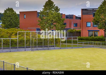 Detail of Soccer field in urban residential neighborhood - Stock Photo