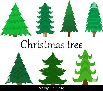 Set of 7 vector Christmas trees without decoration. Flat isolated illustration. - Stock Photo