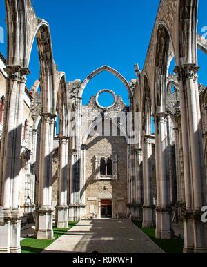 Destroyed church, ruins of the Igreja do Carmo, Convento da Ordem do Carmo, Chiado, Lisbon, Portugal - Stock Photo