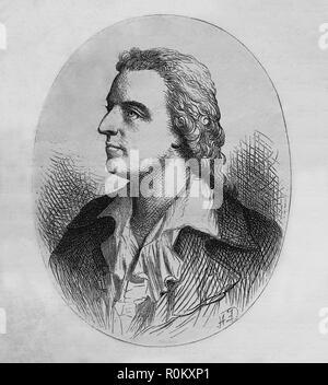 Friedrich Schiller (1759-1805). German writer. Member of Weimar Classicism. Engraving of Germania, 1882. - Stock Photo
