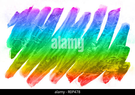 Abstract watercolor background of multi-colored ink stains of all spectral colors. Background image made with watercolors in a rainbow color solution  - Stock Photo