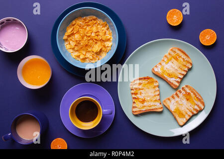 a colorful morning breakfast - Stock Photo