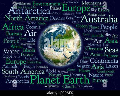 Planet Earth word cloud, on space background with stars. Elements of this image furnished by NASA. 3D rendering. - Stock Photo