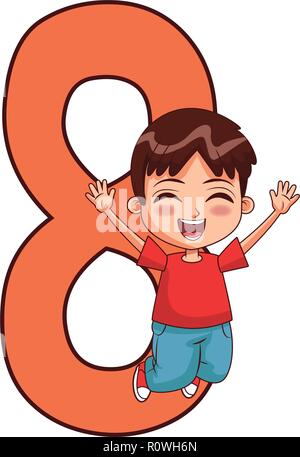 happy boy jumping number - Stock Photo