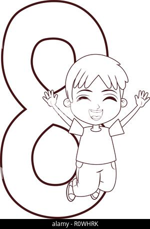 happy boy jumping number black and white - Stock Photo