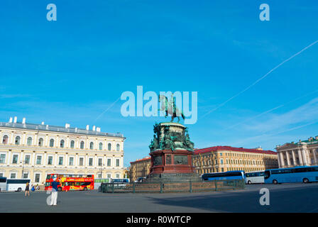 Monument to Nicholas I, St Isaac's Square, Saint Petersburg, Russia - Stock Photo