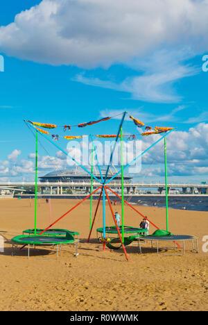 Beach, at Park 300-Letiya Sankt-Peterburga, Primorsky district, Saint Petersburg, Russia - Stock Photo