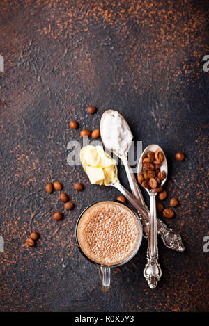 Bulletproof coffee. Ketogenic low carb drink - Stock Photo