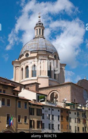 basilica of Sant'Andrea in Piazza delle Erbe, Mantua, Lombardy, Italy - Stock Photo