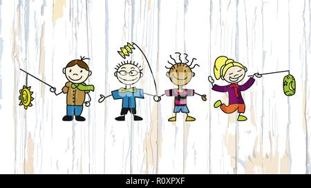 Kids with latern on wooden background. Vector illustration drawn by hand. - Stock Photo