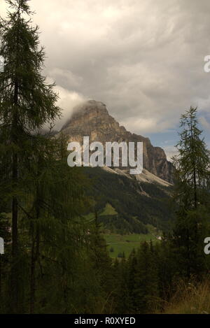 View of the Sassongher mountain at the Alta Badia - Stock Photo