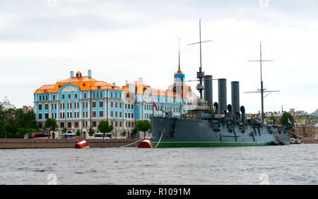 Linear cruiser Aurora, the symbol of the October revolution, St. saint Petersburg, Russian Sankt Peterburg, formerly (1914–24) Petrograd and (1924–91) - Stock Photo