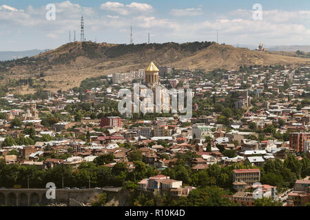 view of Tbilisi, capital of Georgia country. View from Narikala fortress. - Stock Photo