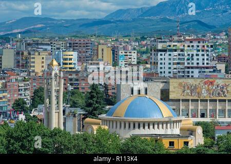 View over Tirana, Tirana, Albania - Stock Photo