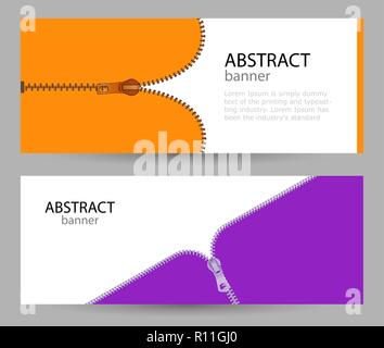 Set horizontal banners with empty place for text. metal zippers on orange and pink colors. banner templates for your projects. - Stock Photo