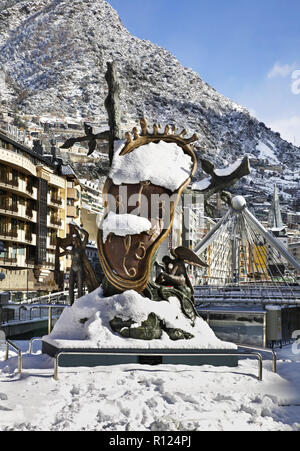 Salvador Dali sculpture, Nobility of Time in Andorra la Vella. Andorra - Stock Photo
