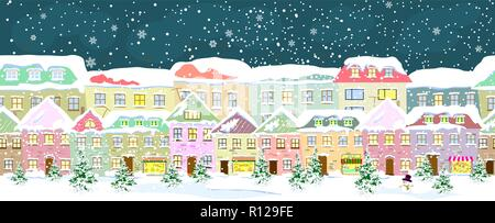 Winter city landscape, seamless. City street in winter. The houses are covered with snow. Snow on a city street. Snow-covered city. - Stock Photo