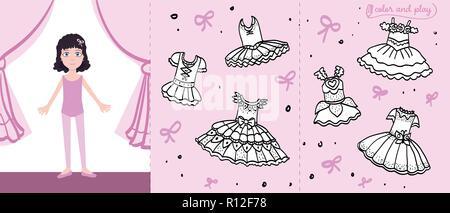 coloring book page ballerina girl dancing on stage stock vector art illustration vector image. Black Bedroom Furniture Sets. Home Design Ideas
