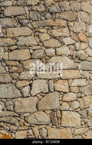 Detailed texture of masonry wall in granite stones, traditionally used in northern Portugal - Stock Photo