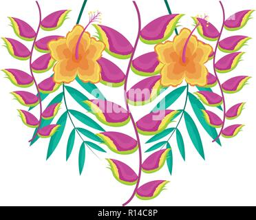 hibiscus flower and heliconia leaves tropical vector illustration - Stock Photo