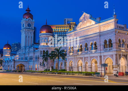 KUALA LUMPUR, MALAYSIA - JULY 20: Night view of the Sultan Abdul Samad Building, an historic building and popular travel destination on July 20, 2018  - Stock Photo