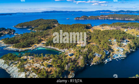 Aerial fjord view near Os village. Bergen, Norway. - Stock Photo