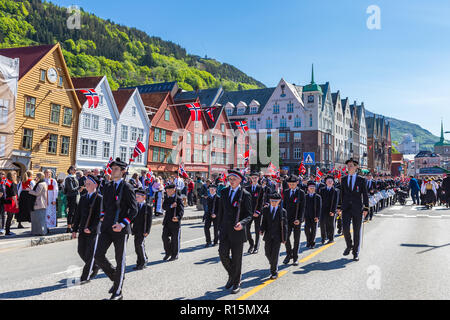 BERGEN / NORWAY - May 17, 2018: National day in Norway. Norwegians at traditional celebration and parade. - Stock Photo
