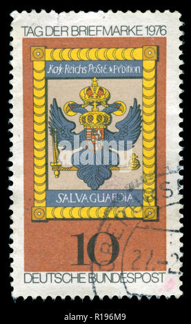 Postmarked stamp from the Federal Republic of Germany in the Stamp Day 1976 series - Stock Photo